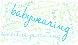 Babywearing Word Cloud. On a white background Royalty Free Stock Images