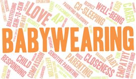 Babywearing Word Cloud. On a white background Stock Photos