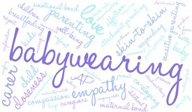 Babywearing Word Cloud. On a white background Royalty Free Stock Image