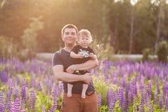 Babyzoon met papa op lupinegebied Royalty-vrije Stock Fotografie
