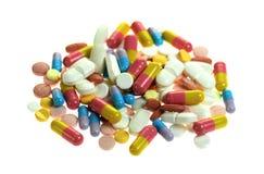 bac查出的药片多种白色 免版税库存照片