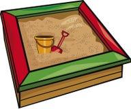 Bac à sable avec des jouets Photos libres de droits