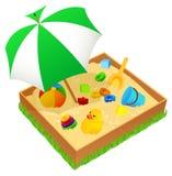 Bac à sable avec le parapluie d'isolement Image libre de droits