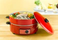 Bac électrique de cuisson à la vapeur Photos stock