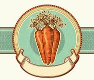 葡萄酒标签用红萝卜。传染媒介例证bac 免版税库存图片