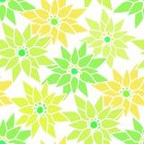 与逗人喜爱的动画片绿色氖的无缝的花卉样式开花bac 库存照片