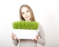 Bac de fixation de femme d'herbe verte photographie stock