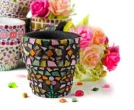 Bac de fleur de mosaïque Photographie stock libre de droits