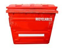 Bac de recyclage industriel rouge Photographie stock