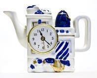 Bac de thé avec une horloge Photo libre de droits