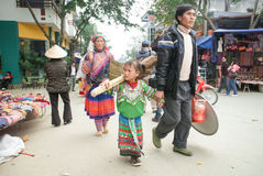 BAC HA,老街,越南-第8,这12月, Bac Ha市场牛,是老街省,越南最大的牲畜市场  免版税库存图片