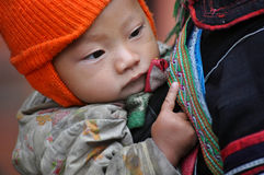 Vietnamese H'mong woman carrying her child Stock Photos