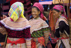 Bac Ha Market. VIETNAM - JULY 5: hilltribe women talk to each other on July 5, 2009. Bac Ha is hilltribe market where hilltribe people come to trade for goods Stock Images