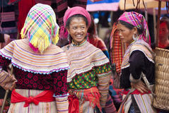 Bac Ha Market. VIETNAM - JULY 5: Hmong women at  on July 5, 2009 in Lao Cai, Vietnam. Bac Ha is hilltribe market where hilltribe people come to trade for goods Stock Photos