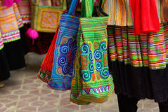 BAC HA,VIETNAM - SEP 11: various bag hand made of Unidentified w Royalty Free Stock Photo