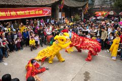 Bac Ninh, Vietnam - 31 de enero de 2017: El festival de primavera tradicional de Dong Ky, un ritual especial del festival de Dong Imagen de archivo