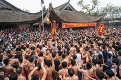 Bac Ninh, Vietnam - Jan 31, 2017: Dong Ky traditional spring festival, a special ritual of the Dong Ky festival used to be the set Royalty Free Stock Photo