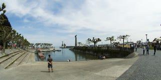 Bac quittant le port dans Constance Image libre de droits