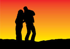 bac sylwetki gradientowy słońca Fotografia Royalty Free
