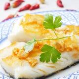 Bacalao al ajillo, a typical spanish recipe of codfish Stock Photography