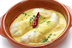 Bacalao Al pil pil,西班牙烹调,巴斯克国家 免版税库存图片