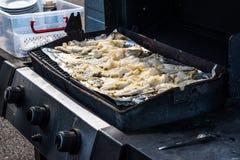 bacalao que cocina después de viaje del barco, Islandia Fotos de archivo