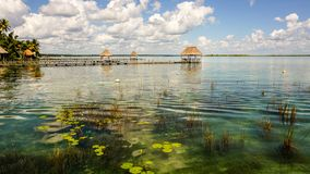 Bacalar Lagoon in the Yucatan, Mexico. stock images