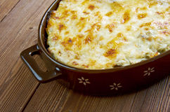 Bacalhau com natas. Fish casserole with potatoes. Portuguese cuisine stock photo