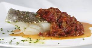 Bacalhau com pimentas Foto de Stock Royalty Free
