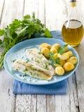 Bacalhau cozinhado com salsa Fotos de Stock