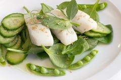 Bacalhau e vegetais verdes Fotos de Stock Royalty Free