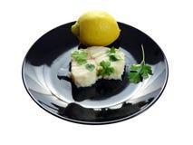 Bacalhau fervido no prato Imagem de Stock
