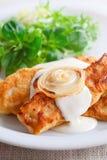 Bacalhau frito com molho de creme, Foto de Stock Royalty Free