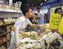 Bacalhau which is cod-fish in Portuguese for sale at indoor market in Brazil