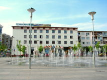 Bacau city center. The Decebal hotel in the city center of Bacau, Romania stock photos