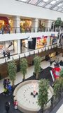 Retail shopping mall with fashion stores and restaurants Royalty Free Stock Photos