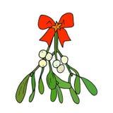 Bacca del vischio di Natale abbozzo Fotografia Stock
