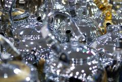 Baccelli arabi oro ed argento del caffè di stile delle teiere brillanti Immagine Stock