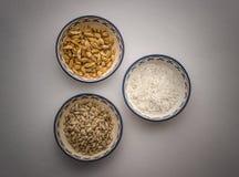 Baccelli del cardamomo, riso, pinoli Fotografia Stock Libera da Diritti