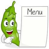 Baccello del carattere dei piselli con il menu in bianco Fotografia Stock