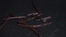Baccello della vaniglia ingredienti per vino caldo, vin brulé video circolare Lento-Mo stock footage