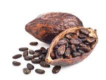 Baccello e fagioli del cacao su un bianco Immagini Stock