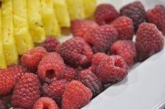 Bacche confuse con il fondo confuso dell'ananas immagini stock libere da diritti