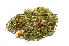 Bacche di Goji e foglie di tè verdi Fotografia Stock Libera da Diritti