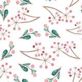 Bacche e Emerald Leaves Seamless Pattern dell'acquerello Fotografia Stock