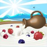 Bacche e latte Fotografia Stock