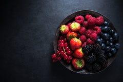Bacche fresche in ciotola, concetto antiossidante immagine stock libera da diritti
