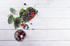 Bacche, more ed uva passa del gelso su una tavola di legno bianca La composizione piana fotografie stock libere da diritti
