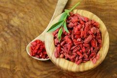 Bacche rosse asciutte di goji Fotografia Stock