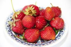 Bacche rosse di una fragola in un piatto su un fondo bianco fotografie stock libere da diritti